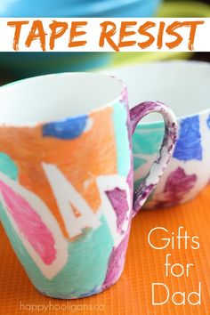 Easy Homemade Father's Day Gift - Tape Resist Mug and Bowl: Pick up a mug and bowl at the dollar storm, and make a personalized gift for Dad using a roll of tape and some acrylic paints! - Happy Hooligans