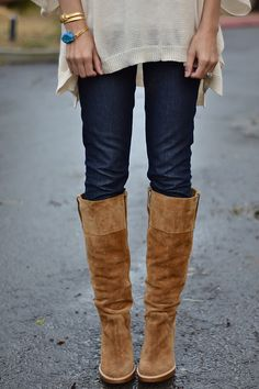 Loving the layered sweater(s) with tall boots look!!  Tan knee high Boots