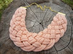 Crochet necklace by MariAnnieArt on Etsy #crochetjewelry #tricotinjewelry #tricotin #MariAndAnnieArt