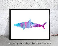 Shark 2 Watercolor Print watercolor painting by WatercolorBook, $15.00