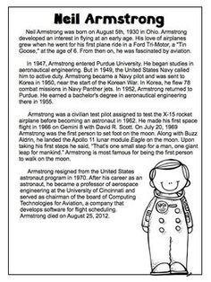 Neil Armstrong Facts, Neil Armstrong For Kids, Neil Armstrong Biography, Who Is Neil Armstrong, Reading Comprehension Worksheets, Reading Passages, Education Quotes, Kids Education, History Education