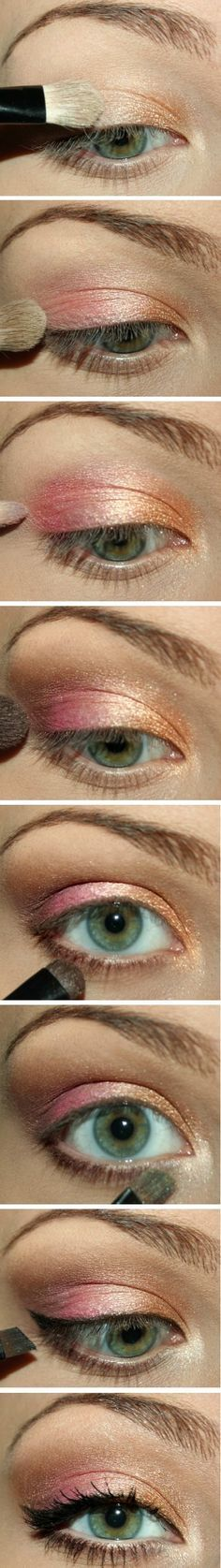 Normally... you would not put these 2 colors together...however this pink and peach eye color tutorial brings a great imagination of color that will match many beautiful summer outfits!~Kimberly Robyn