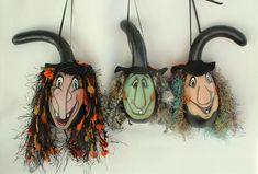 Mini Witch Halloween Gourd Ornament Set of 3 - Hand Painted Gourds Halloween Gourds, Halloween Crafts, Baby Turkey, Gourds Birdhouse, Hand Painted Gourds, Mini Monster, Best Ups, Voodoo Dolls, Black Ribbon