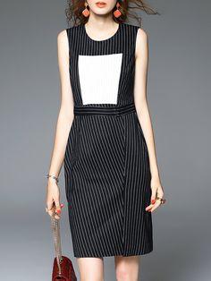#AdoreWe #StyleWe D.FANNI Black Sheath Crew Neck Simple Color Block Stripes Mini Dress - AdoreWe.com