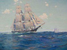 Henry Parker Lighthouse Artist | Charles Robert Patterson - Brig Torrent . Oil on Canvas. Size: 30x40 ...