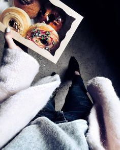Alright kettle is on and I have pistachio peanut butter and jam creme brûlée and hazelnut cream doughnuts!   Which one is yours?   Wearing my candyfloss coat for this very special occasion of course and everything I'm wearing is linked at  http://liketk.it/2pz9O @liketoknow.it #liketkit || #donuts #fwis #asseenonme #todayimwearing #styleblogger #streetstyleluxe