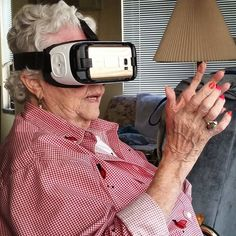 """Happy Birthday and Mother's Day to my sweet Grammy!  Grandma always tells us she wishes she had traveled more and taken time to see the world while she was able. Well today we decided to take the world to her! With the help of my sister's virtual reality goggles Grandma took a trip that covered Hawaii Brazil Indonesia Paris Rome and more!  If you haven't tried virtual reality goggles they're so vivid. Grandma was absolutely in awe. It was so fun to see her excitement and watch her """"explore""""…"""