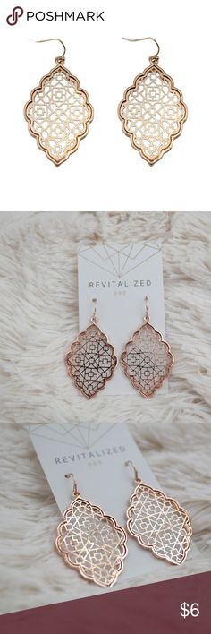 3/$20 • Moroccan Style Filigree Earrings **PLEASE READ** These earrings are beautiful but they are flawed. The color is off in some places. Not terribly noticeable but not to my boutique's standard. This reflects the price.   1 Pair Rose Gold plated New in package Jewelry Earrings