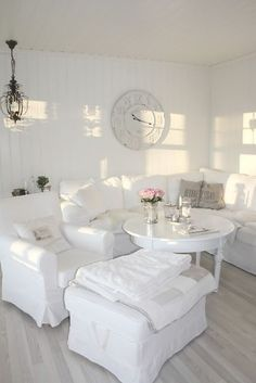 All White Living Room Decor . √ 28 All White Living Room Decor . 15 Serene All White Living Room Design Ideas Rilane Shabby Chic Living Room, Living Room White, Beautiful Living Rooms, White Rooms, Shabby Chic Homes, White Walls, Small Living Rooms, White Furniture, Shabby Chic Furniture