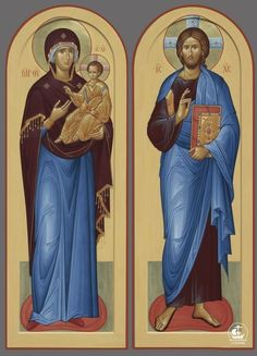Diptych icons of the Theotokos and Our Lord Jesus Christ. Religious Images, Religious Icons, Religious Art, Orthodox Catholic, Catholic Art, Byzantine Icons, Byzantine Art, Church Icon, Book Of Hours