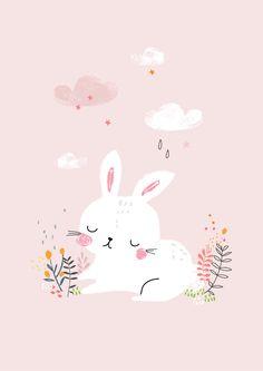 Illustration & Surface Pattern Design of a bunny Art And Illustration, Rabbit Illustration, Pattern Illustration, Art Illustrations, Character Illustration, Image Deco, Bunny Art, Kids Prints, Surface Pattern Design