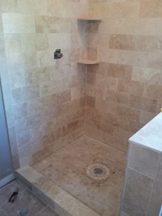DIY: Travertine Tiled Shower Makeover, We Changed Out Our Builder Grade Shower  Stall