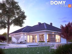 Modern walls and floors by biuro projektów mtm styl - domywstylu. Bungalow House Plans, Bungalow House Design, Bedroom House Plans, Modern House Plans, Small House Plans, Bali House, Prefabricated Houses, House Color Schemes, One Story Homes