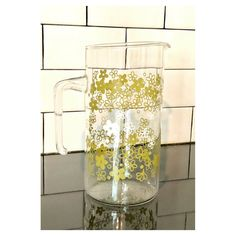 Vintage Pyrex Crazy Daisy/Spring Blossom ~1.5 Quart Glass Pitcher #glass #pyrex #crazydaisy #springblossom #pitcher #clear #green #white