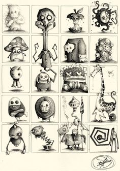 """Series of Sketches made with ballpoint pen on paper. """"Little and quick Concepts for Great Ideas"""""""