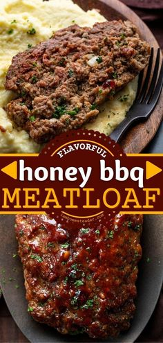 This Honey BBQ Meatloaf is an easy dinner idea that starts with tender and flavorful meatloaf made with ground beef and ground pork with a sweet honey barbecue glaze on top. Pin this easy main dish! Beef Casserole Recipes, Ground Beef Casserole, Meatloaf Recipes, Easy Main Dish Recipes, Easy Dinner Recipes, Easy Meals, Bbq Meatloaf, Meat Loaf Recipe Easy, Honey Bbq