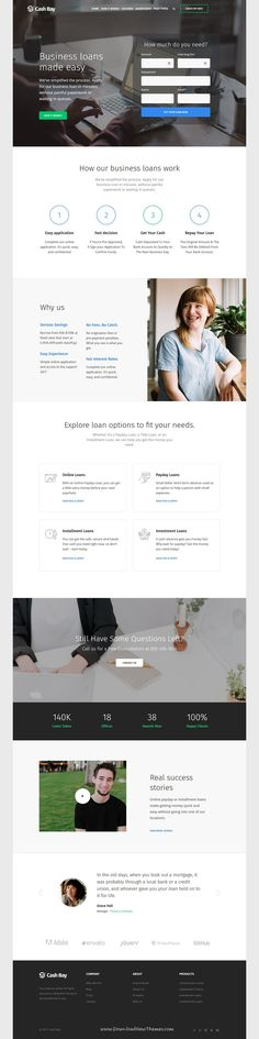 Cash Bay is clean and modern design 2in1 responsive #WordPress theme for online #financial services, bank and paycheck #loans website to live preview & download click on Visit 👆