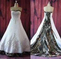 Plus Size Luxury Camo Wedding Dress Lace Up Bridal Gowns Custom Size 2-28