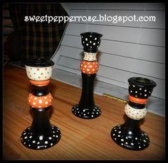 Halloween Candle Holders Country Sampler Knock Offs  http://sweetpepperrose.blogspot.com/2012/10/halloween-candle-holders-country.html