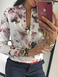 Style:Fashion Pattern Type:Floral Polyester Neckline:V-Neck Sleeve Style:Long Sleeve Decoration:Floral Print ,Button Design Length:Regular Occasion:Casual Package Blouse Note: There Mode Outfits, Casual Outfits, Fashion Outfits, Womens Fashion, Fashion Clothes, Cheap Fashion, Modest Fashion, Fall Fashion Trends, Autumn Fashion