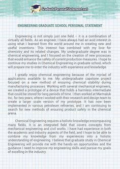 To Write An Engineering Graduate School Personal Statement Is Often The  Most Difficult Work Of Any