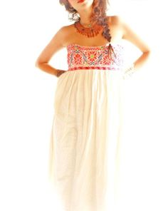 Peyote and Flores bohemian embroidered maxi dress ethnic cotton