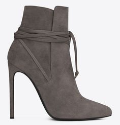 saint laurent lace up ankle boots earth suede