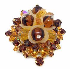 Signed HOBE Vintage FLOWER BROOCH PIN Amber Glass Rhinestone Gold Tone Jewelry #HobLaboratories #Vintage