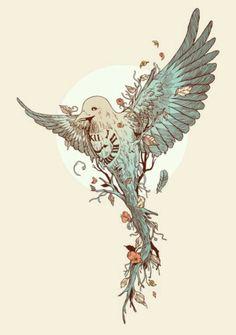 Time flies tattoo bird