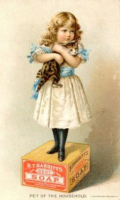 Girl with Cat-Advertising Trade Cards-Printed cards have been used for advertising since the early 19th century. With the evolution of stone lithography to a practical commercial art in the 1870's, colorful trade cards became commonplace...image is usually related to the product