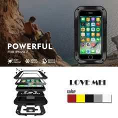 Love Mei Case for iphone 7 4.7 inch waterproof Shockproof aluminum Tempered Glass + Wireless charger phone case for iphone 7
