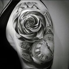 100 Roman Numeral Tattoos For Men Manly Numerical Ink Ideas - Watch - Ideas of Watch - Shaded Black And Grey Ink Guys Roman Numeral Rose And Pocket Watch Half Sleeve Tattoo Rosen Tattoo Schulter, Schulter Tattoo, Neue Tattoos, Body Art Tattoos, Henna Tattoos, Tatoos, Trendy Tattoos, Tattoos For Women, Arm Tattoos For Guys