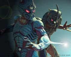Guyver and Guyver Zoanoid figures from the Dark Hero movie. J Games, Japanese Video Games, Lovecraftian Horror, Werewolf Art, Art Basics, Hero Movie, Manga Characters, Creature Design, Fantasy Creatures