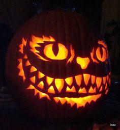 Halloween Horror, Halloween Cat, Halloween Pumkin Ideas, Pumpkin Ideas, Pumpkin Carving Contest, Pumpkin Carvings, Cheshire Cat Pumpkin, Alice Tea Party, Mad Hatter Tea