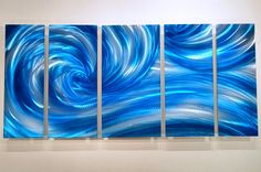 blue METAL art painting sculpture home modern abstract by luboart