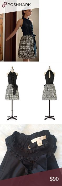 """Anthropologie Weston Wear Evening's Promise Dress """"weston wear"""" by Anthropologie      Evening's Promise Dress  Description: Ruffled black poplin tops full-skirted eyelet embroidery with unstudied grace, forming this elegant silhouette from Weston Wear.      Ties at neck     Side zip     Cotton, spandex, polyester; cotton, nylon lining     Dry clean   Size : 4 Armpit to armpit : 16.75"""" Length : 38.5""""  Excellent used condition.  Please see the pictures.  Thank you for looking my item. Please…"""