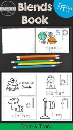 FREE Blends Book for kids to color and trace - this is a fun way to help kids learn s blends, r blends, l blends, and tw blends. This is perfect for kindergarten, first grade, and 2nd grade students for centers, homeschool, homework, extra practice, and summer learning which will help them with phonics for better reading and spelling.