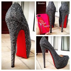 Christian Louboutin, simple and gorgeous. This pin is the most repined image I have. The site below also has these in gold, but I favor the black. I removed the link due to people reporting it as inappropriate though its a link to a shoe site, with good deals. http://www.fashiondivadesign.com/christian-louboutin/