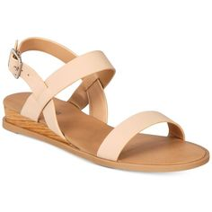 Call It Spring Richichi Flat Sandals ($50) ❤ liked on Polyvore featuring shoes, sandals, nude, nude shoes, wedge heel sandals, flat shoes, call it spring sandals and wedges shoes