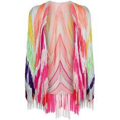 Tim Ryan Multi Flouro Fringed Knit Jacket ($2,275) ❤ liked on Polyvore featuring outerwear, jackets, tim ryan, pink fringe jacket, long sleeve jacket, light weight jacket and lightweight jackets