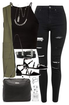 """""""Outfit with a long vest and flats"""" by ferned on Polyvore featuring Topshop, Yves Saint Laurent, Zara, Linea Pelle, Edge of Ember and Forever 21"""