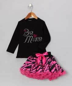 Take a look at this Black 'Be Mine' Tee & Pink Pettiskirt - Infant, Toddler & Girls by So Girly & Twirly on today! Just in case. Princess Outfits, My Princess, Little Princess, Dance Outfits, Girl Outfits, Kids Pajamas, My Baby Girl, Beautiful Children, Infant Toddler