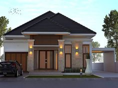 modern indian home design front view with country house garden design and best entrance door design Country Modern Home, Country Home Exteriors, Simple House Exterior, Exterior House Colors, Kerala House Design, Home Garden Design, House Design Photos, Small House Design, Corner House