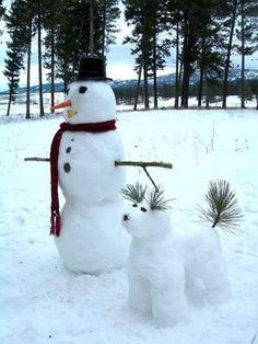 Snowman's best friend, walking the dog
