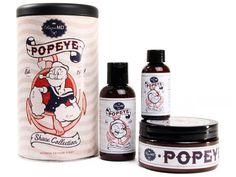 Popeye Rasierset - besonders ausgefallenes Geschenk für den Mann. Die Spinat-Edition für kräftige Männer.