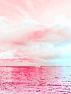 Pink........ The sky looks like cotton candy:)!!! Bebe'!!! The water looks like pink lemon aid!!!