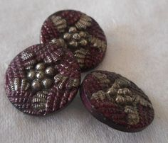 Set of 3 ANTIQUE Star Flower Burgundy