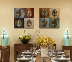 2pcs American Style Leaves Giclee art Canvas painting Home decor Wall art Wall pictures for living room Unframed