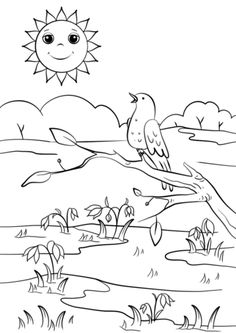 Spring Pictures Coloring Pages Unique Spring Scene Coloring Page Crayola Coloring Pages, Geometric Coloring Pages, Mickey Mouse Coloring Pages, Frozen Coloring Pages, Puppy Coloring Pages, Spring Coloring Pages, Disney Princess Coloring Pages, Easy Coloring Pages, Christmas Coloring Pages