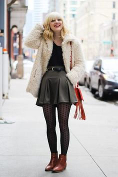 Bohemian Style Idea: shaggy fur coat, polka dot sheer tights, brown leather ankle boots
